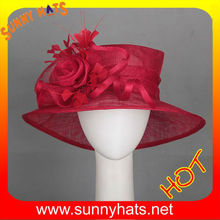 Newest design red wedding dress hats with feather and flower