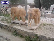 sunset red marble stone elephant carving