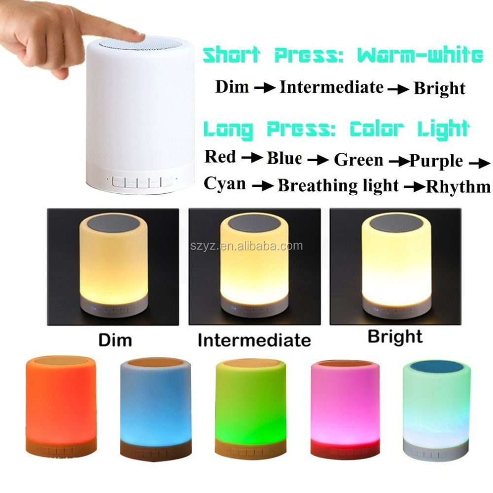 2016 New Christmas Gift USB Portable Rechargeable LED Table Light Touch Sensor Lamp Bluetooth Speaker