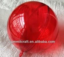 Transparent red Christmas ball clear plastic ball container