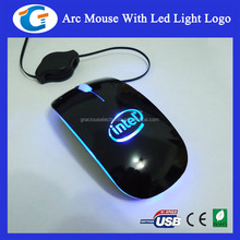 2013 best wired optical wired slim mouse with led logo