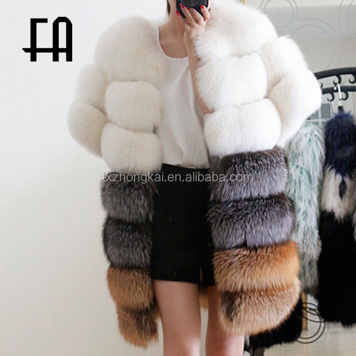 wholesale fashion lady's silver fox fur long waistcoat /red fox fur gilet