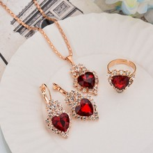 Shiny Heart Shape Pendant Jewelry Set Women