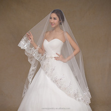 Hot White Ivory 3M Lace Cathedral Wedding Veil With Comb Sequins Bridal Veils