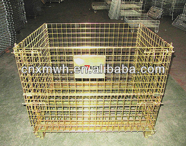 Folding warehouse storage cage crate