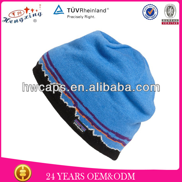 Blue newest knitted jacquard custom Merino wool beanie hats