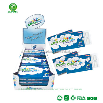 Sugar free chewing gum in snack blister packing:10pcs-per pack