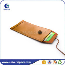 Emnossed logo Brown pu leather mobile phone cases