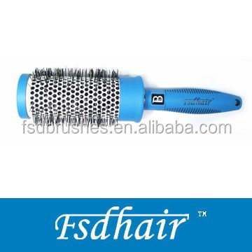 Shiny rubber finishing on plastic part and ceramic coating on aluminum barrel round hair brush