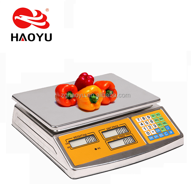 Commercial food scale Stainless Steel Housing 40KG electronic price computing scale