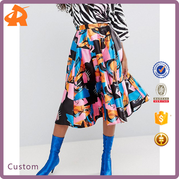 custom make satin pattern skirt for women,custom printed skirt
