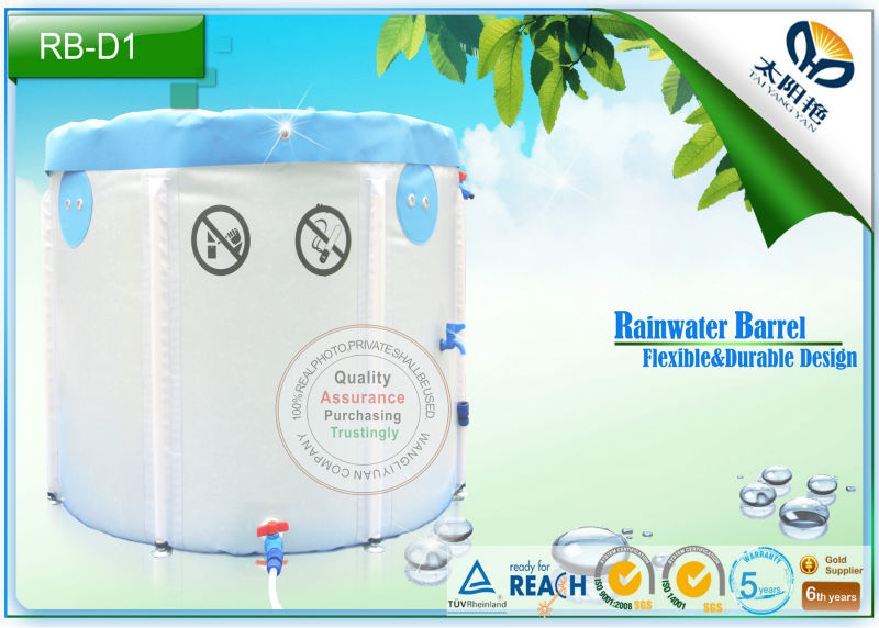 Garden collapsible water tank for rain water collecting system
