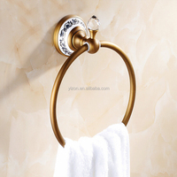 Wholesale And Retail Antique Brass Crystal Ceramic Style Towel Ring Wall Mounted Bath Towel Rack Round Tower Hanger Hook