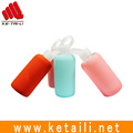 Made in China sport style HB glass hot water drinking bottle with soft colorful silicone rubber case cover sleeve