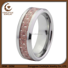 Women pink carbon fiber engagement ring , titanium 100% carbon fibre ring for female
