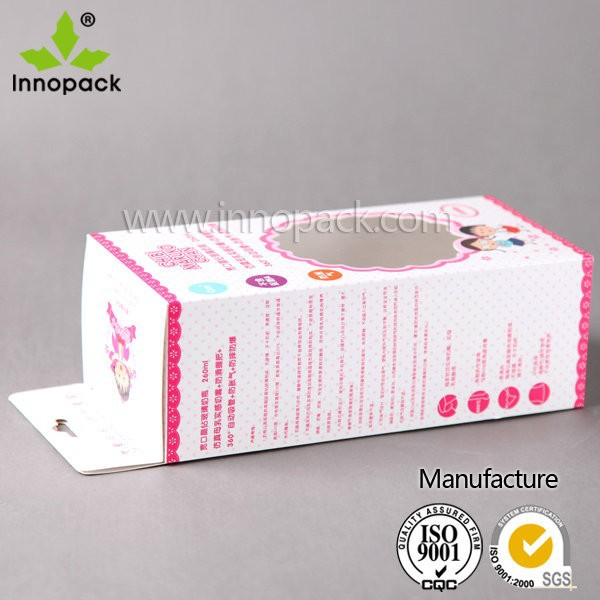White Cardboard Box with Hanging Hole for Baby Milk Bottle Packing