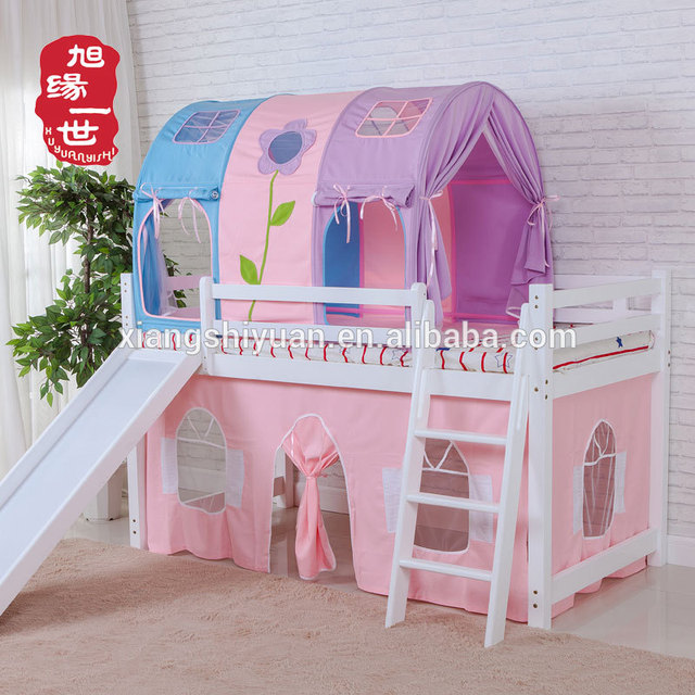 Kids furniture pine shortly mid sleeper cabin bed with ladder