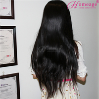 Homeage hand-tied brazilian full lace wig for black women, best selling straight brazilian human hair wig
