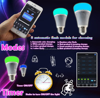 milight wifi Bluetooth 4.0 rgbww warm white E27 8w bulb with music clock speaker function , shake to turn on/off light directly