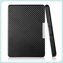 Carbon Black color High-quality Synthetic Leather Leather Magnetic Smart Case Cover for Kindle (2014 Version)