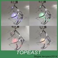 Color Changing Wind Spinner LED Light Solar Powered Hang Spiral Garden Lwn lamp / solar hanging lamp