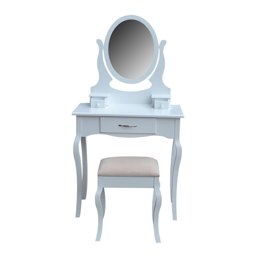 White bedroom dressing table make up desk with stool