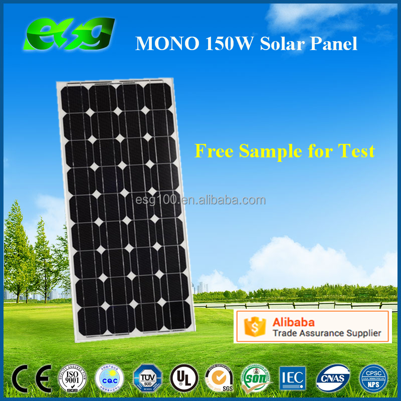 A-grade cell high efficiency 150w monocrystalline PV solar panel manufacturers in China/pv solar panel price