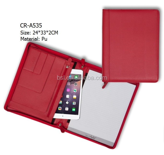 Luxury a4 leather portfolio red folder with ipad business case for lady