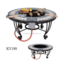Stone round table top gas stove