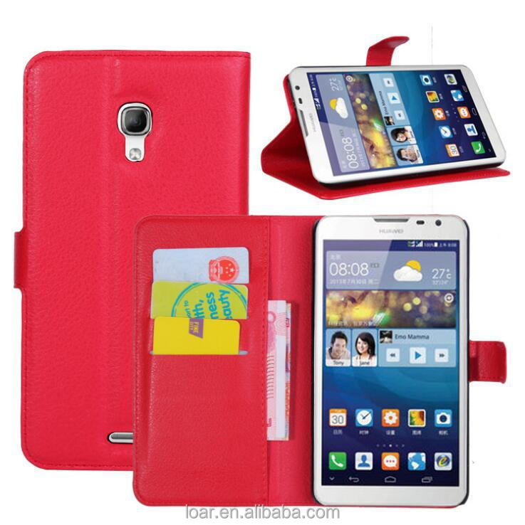 Holster and plastic back skin combo Leather flip cover case for huawei ascend mate 2