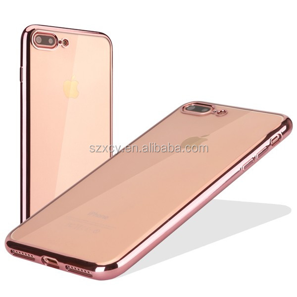 bulk buying transparent TPU electroplating bumper mobile phone back cover case for iphone7 plus