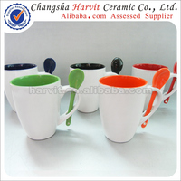 2014 Hot Selling Wholesale Cheap Ceramic Mugs/Inside Color Glaze Mugs With Spoon/Ceramic Coffee Mug With Spoon