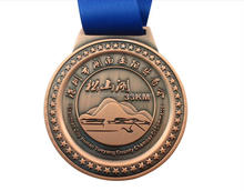 "F326 Promotional 3"" Dia Custom award metal medals with neck ribbons"