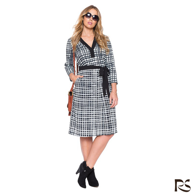 Printed tie waist check shirtdress fashionable dress for fat women