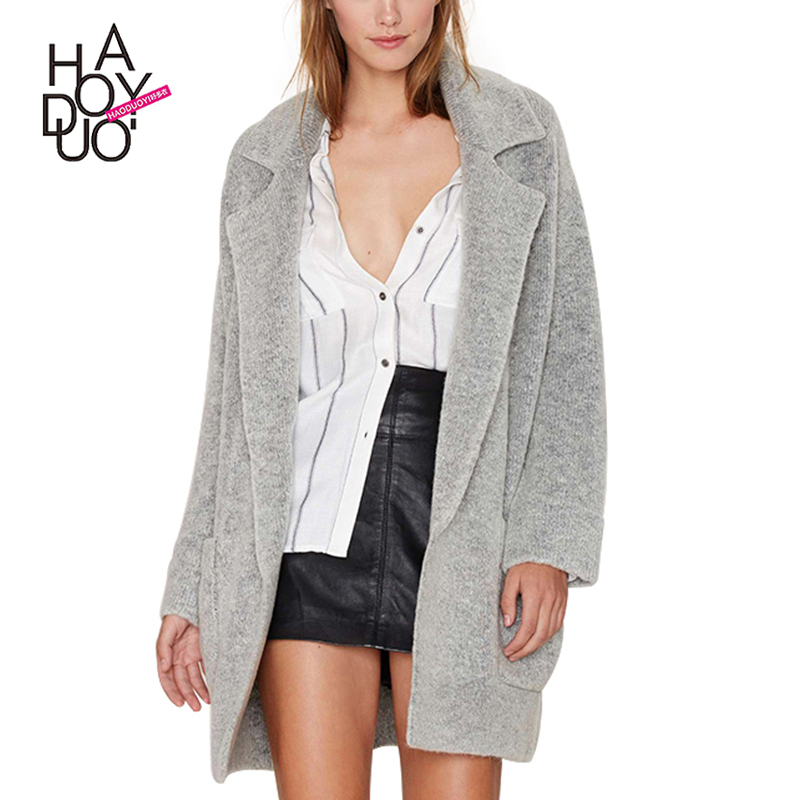 HAODUOYI 2016 Autumn Winter Women Fashion Solid Gray Turn-down Collar Long Sleeve Cardigan Loose Coat for wholesale