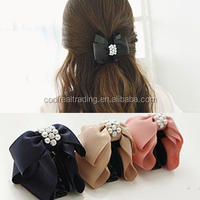 New arrival multicolor ribbon bow hair claw with pearl and rhinestone hair clips