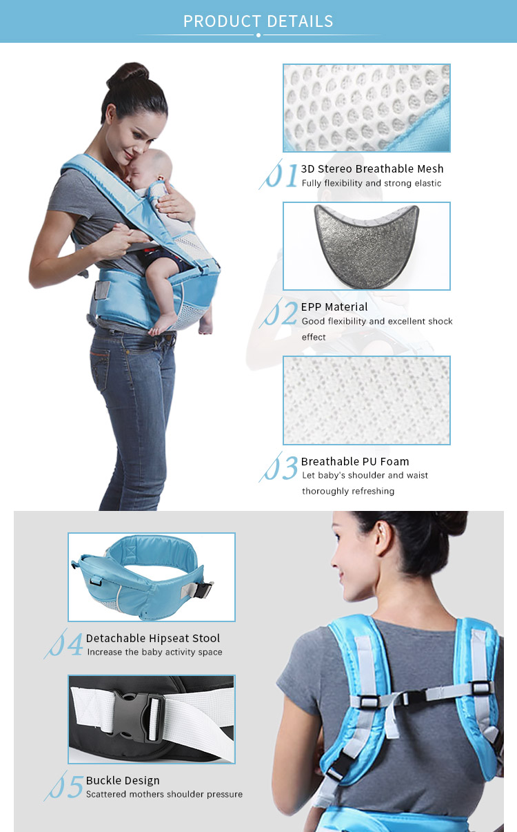 Manufacturers 4 In 1 Ergonomic Adult Soft Cotton Hop Seat Hipseat Back Backpack Sling Woven Wrap Baby Carrier For Newborns