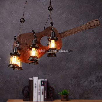 Factory direct wholesale wooden pendant lamps LED chandelier hanging light Industrial Loft retro wood pendant light