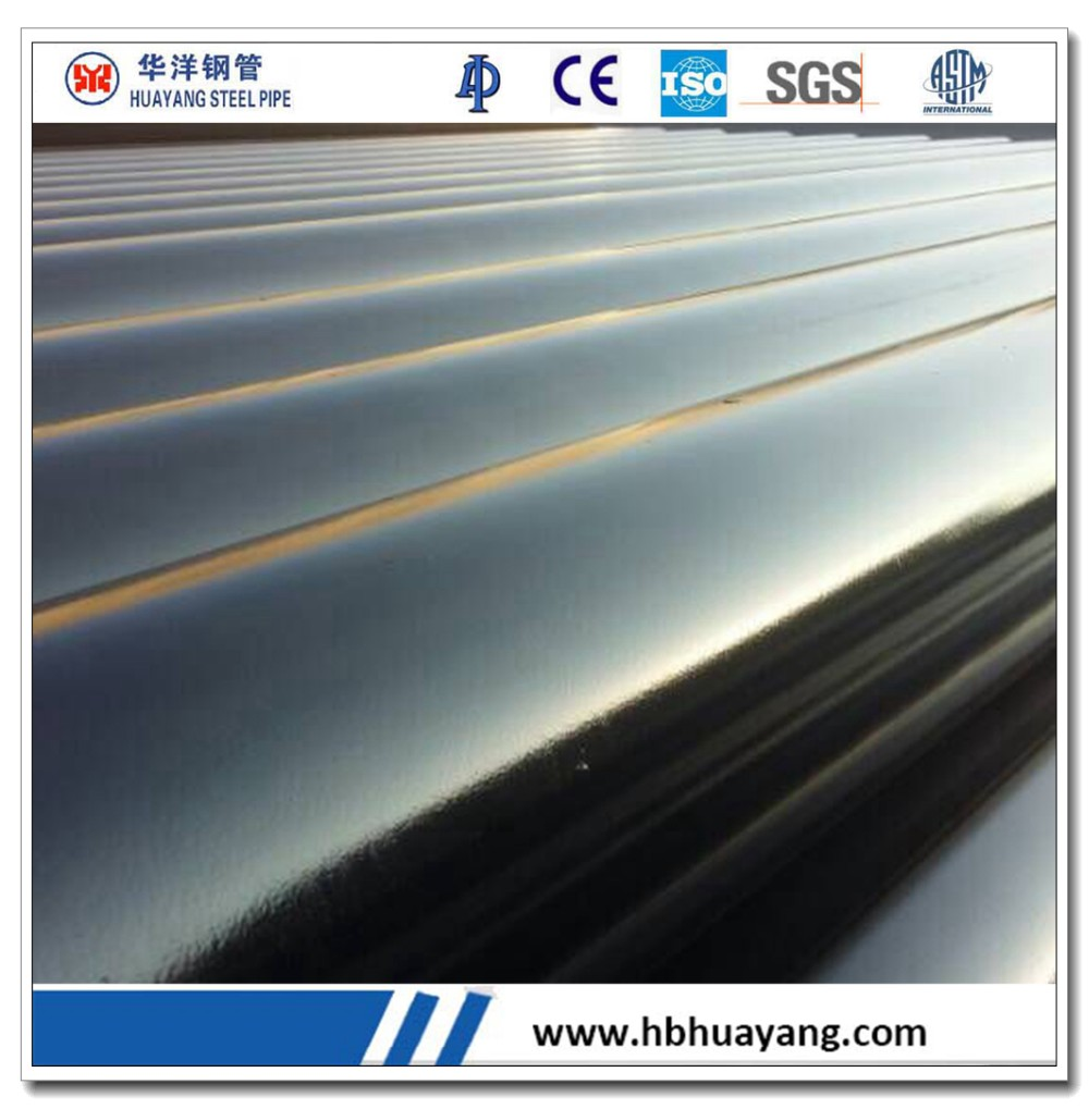 Black painted ERW carbon round steel pipe