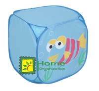 lovely kids folding laundry basket with fish