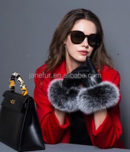 2017 fox fur wrist leather gloves/ high quality sheepskin ladies gloves/ thickened velvet gloves