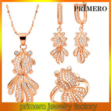 PRIMERO 925 Silver Jewelry Set Austrian crystal necklace earring ring goldfish anging earrings