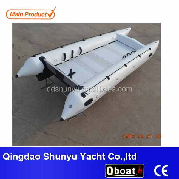 (CE)14ft inflatable catamaran cheap row boats with aluminum floor
