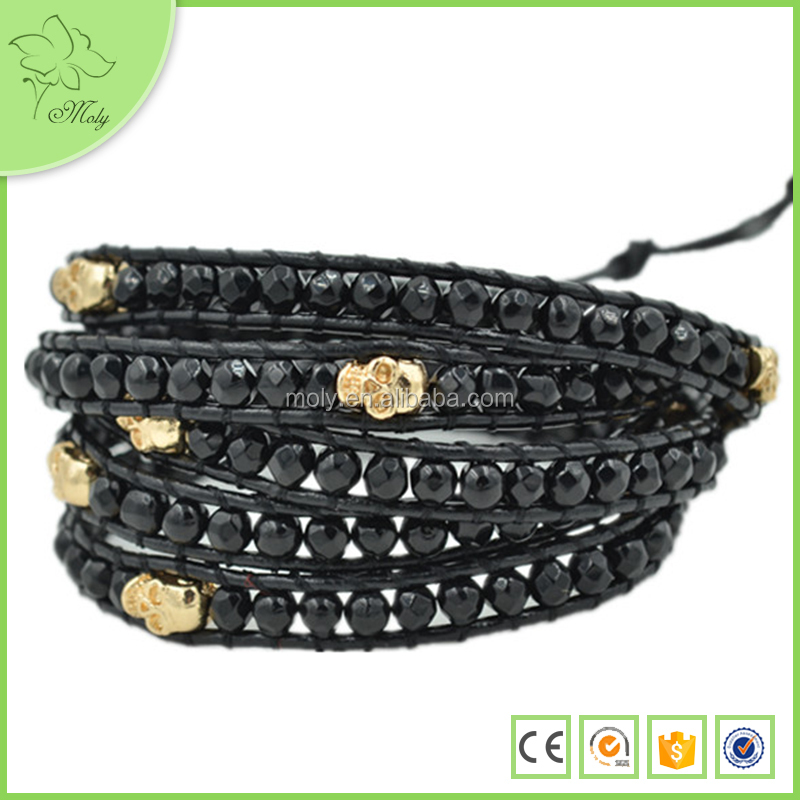 Wholesale faceted Black O0nyx Beads Leather Wrap Bracelets 2015 Hot New Products Men Elastic Leather Strap