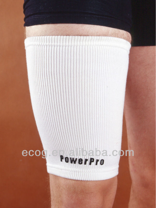 Elastic thigh support /knee support with rubber print, available in various sizes and colors
