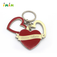 2017Metal Heart Shaped Key Ring ,Lovers Heart Key Chain With Rhinestone
