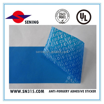 High quality tamper evident blue adhesive label matrial /no residue adhesive sticker