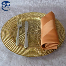 GP0017 Hot sale gold rattan design dishes and plate glass