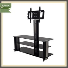 Lcd popular furniture glass tv stand with metal frame RA014