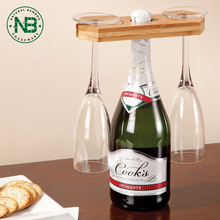 China Products Simple Bamboo Wooden Wine Bottle and Glass Holder
